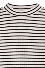 Ribbed top - White/Black striped -  | H&M CN 3