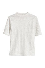 Ribbed top - Light grey marl -  | H&M 2