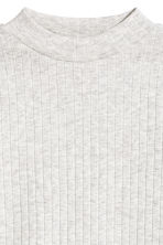Ribbed top - Light grey marl -  | H&M 3