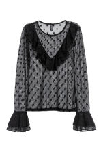 Mesh frilled top - Black - Ladies | H&M 2