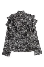 Patterned frilled blouse - Zebra print -  | H&M 2