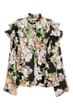 Patterned frilled blouse - Black/Tiger - Ladies | H&M 2