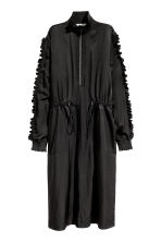 Satin dress with frills - Black - Ladies | H&M 2