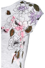 MAMA Top with gathered sleeves - Light grey/Floral - Ladies | H&M CN 3