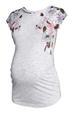 MAMA Top with gathered sleeves - Light grey/Floral - Ladies | H&M CN 2