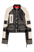 Leather jacket with studs - Black/White -  | H&M 2