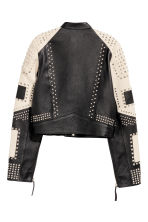 Leather jacket with studs - Black/White -  | H&M CN 3