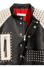 Leather jacket with studs - Black/White -  | H&M CN 4