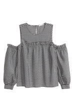Cold shoulder blouse - Black/White/Checked - Ladies | H&M CN 2