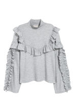 荷葉邊上衣 - Light grey marl -  | H&M 2