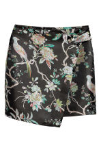 Wrap skirt with metal eyelet - Black/Floral - Ladies | H&M 2