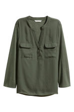 縐紗女衫 - Dark khaki green - Ladies | H&M 2
