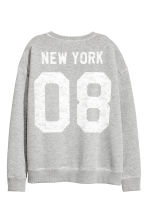 Printed sweatshirt - Grey marl - Ladies | H&M CN 3