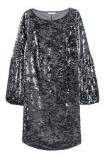 Crushed velvet dress - Dark grey - Ladies | H&M CN 2