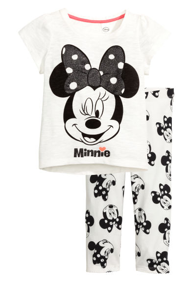平紋睡衣套裝 - White/Minnie Mouse - Kids | H&M 1