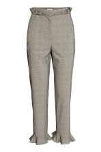 Trousers with frills - Grey/Checked - Ladies | H&M CN 2
