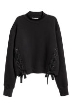 Sweatshirt with lacing - Black - Ladies | H&M 2