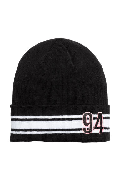 Fine-knit hat - Black - Ladies | H&M CN 1