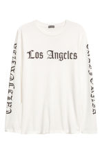 Printed long-sleeved T-shirt - White/Los Angeles - Men | H&M 2