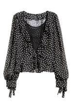 Frilled blouse - Black/Spotted - Ladies | H&M GB 2