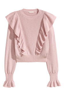 Knitted jumper with frills