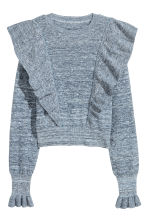 Knitted jumper with frills - Dark blue marl - Ladies | H&M CN 2
