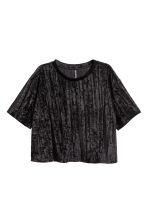 Crushed velvet top - Black - Ladies | H&M CN 2