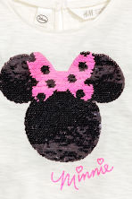 Top with sequins - White/Minnie Mouse -  | H&M CN 4