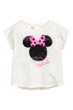 Top with sequins - White/Minnie Mouse -  | H&M CN 2