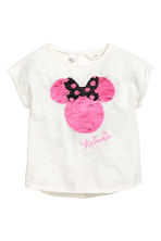 Top with sequins - White/Minnie Mouse -  | H&M CN 3