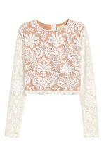 Cropped mesh top - Natural white - Ladies | H&M 2