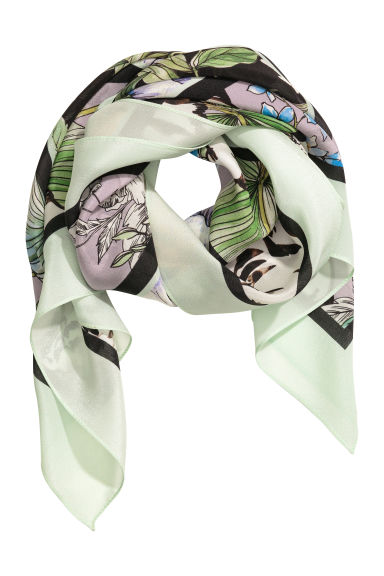 Patterned silk scarf - Purple/Tigers - Ladies | H&M