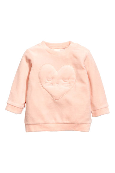Velour top - Powder pink/Hearts - Kids | H&M CN 1