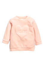 Velour top - Powder pink/Hearts - Kids | H&M 1