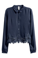 Short blouse - Dark blue - Ladies | H&M 2