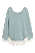 Jumper with lace trims - Dusky green - Ladies | H&M 2