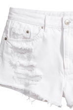Denim shorts Skinny Regular - White denim - Ladies | H&M 4