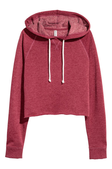 Cropped hooded top - Dark red - Ladies | H&M CN 1