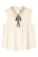 Lace-collar blouse - Natural white - Ladies | H&M 2