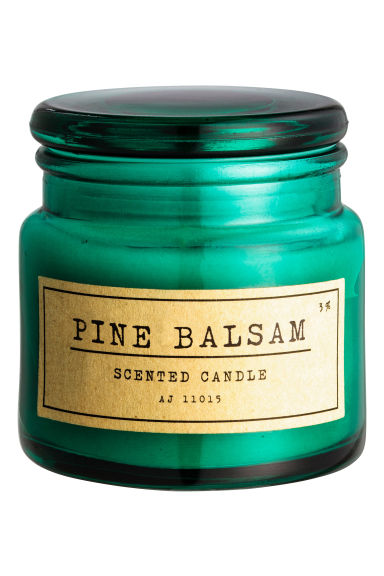 Scented candle in glass holder - Dark green/Patchouli - Home All | H&M GB