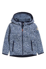 Knitted fleece jacket - Dark blue marl -  | H&M CN 1