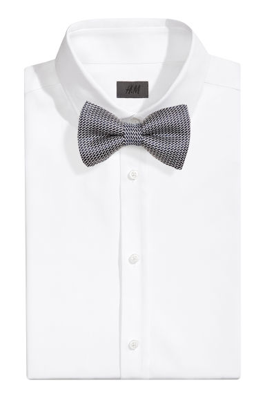 Jacquard-weave silk bow tie - Dark blue/Patterned - Men | H&M CN 1