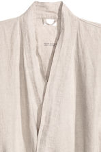 Washed linen dressing gown - Grey beige - Home All | H&M CN 2