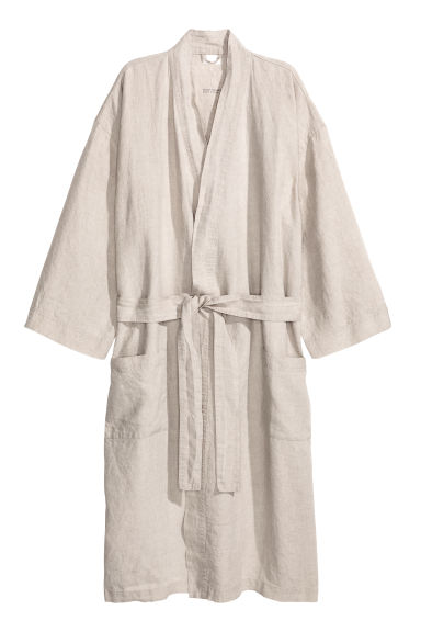 Washed linen dressing gown - Grey beige - Home All | H&M GB 1