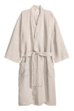Washed linen dressing gown - Grey beige - Home All | H&M CN 1