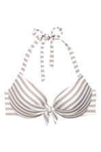 Padded underwired bikini top - Mole/White/Striped - Ladies | H&M CN 2