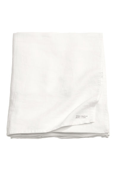Washed linen tablecloth - White -  | H&M GB