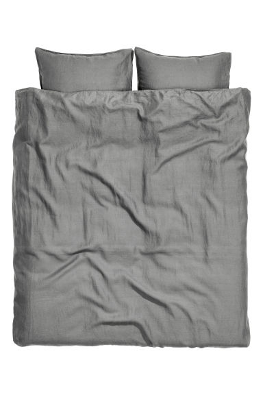 Washed linen duvet cover set - Grey - Home All | H&M IE