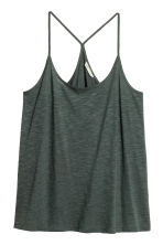 Top in slub jersey - Dark green - Ladies | H&M 2