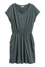 Short-sleeved jersey dress - Petrol marl - Ladies | H&M CN 2